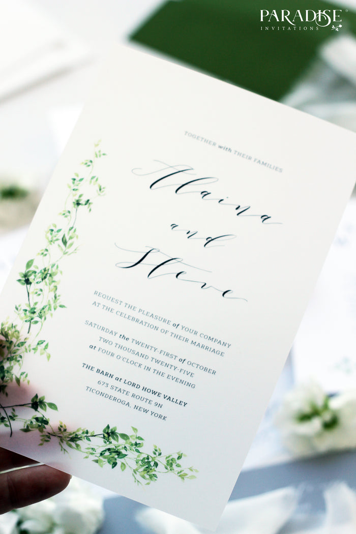 Coraline Vellum Greenery Wedding Invitation