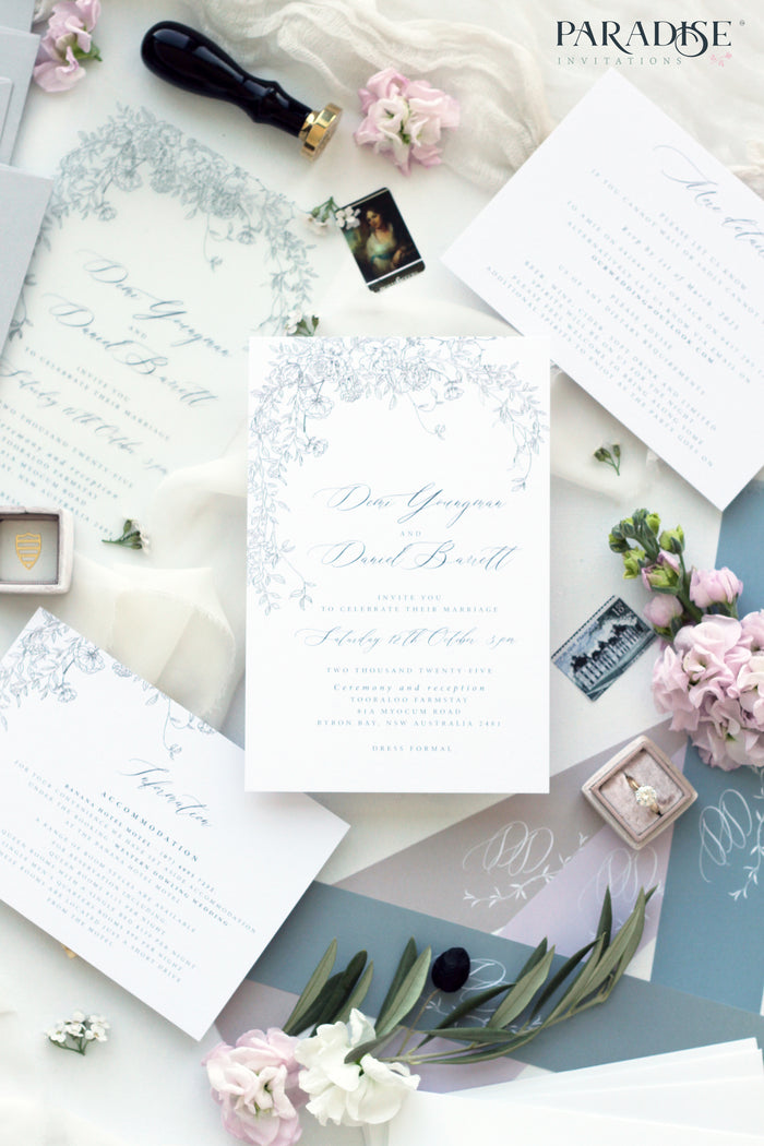 Madieu Dusty Blue Floral Wedding Invitation
