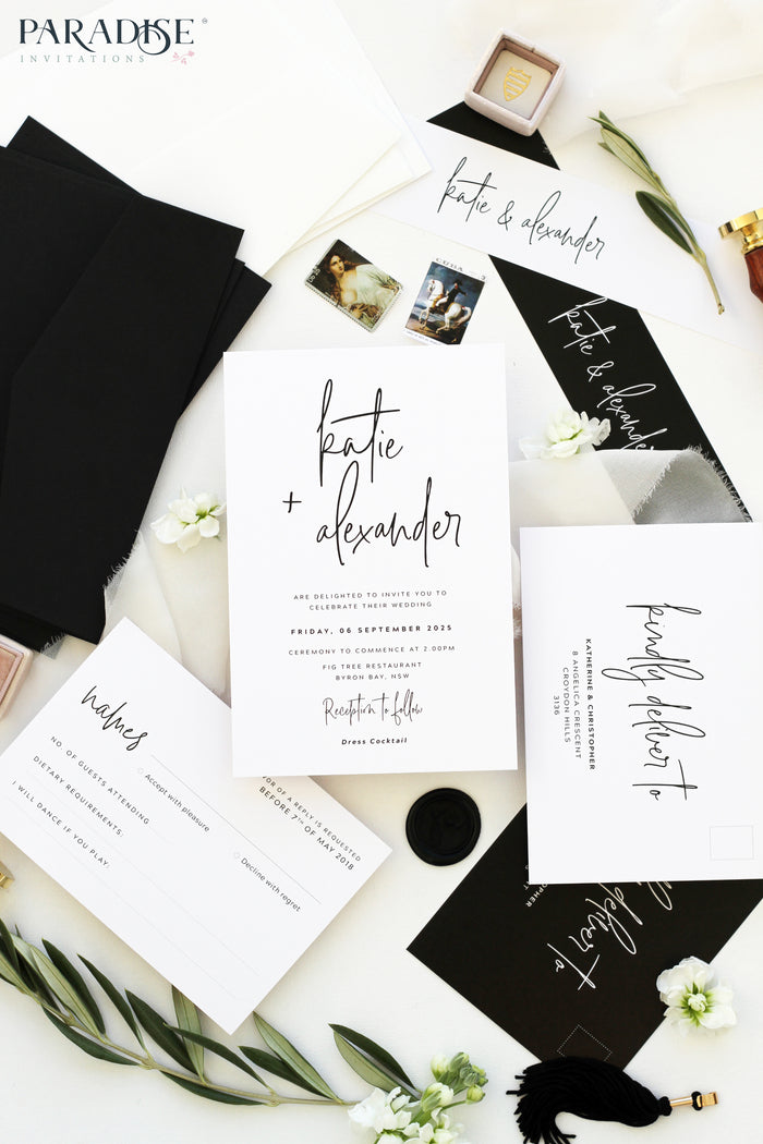 Lilou Modern Calligraphy Wedding Invitations