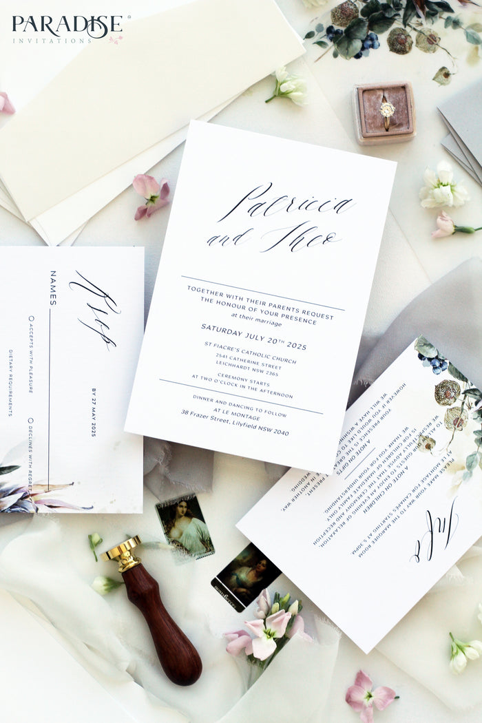 Aime 2 Navy Blue Floral Wedding Invitation