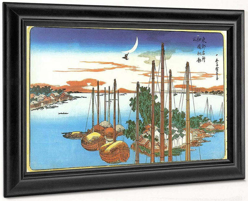 Boats At Anchor Off An Island By Hiroshige
