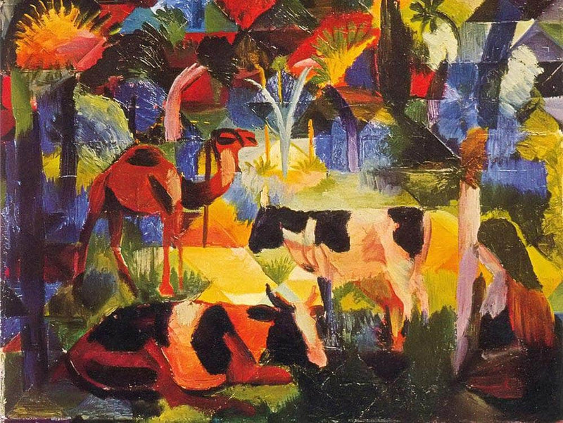 Landscape With Cows And Camels By August Macke