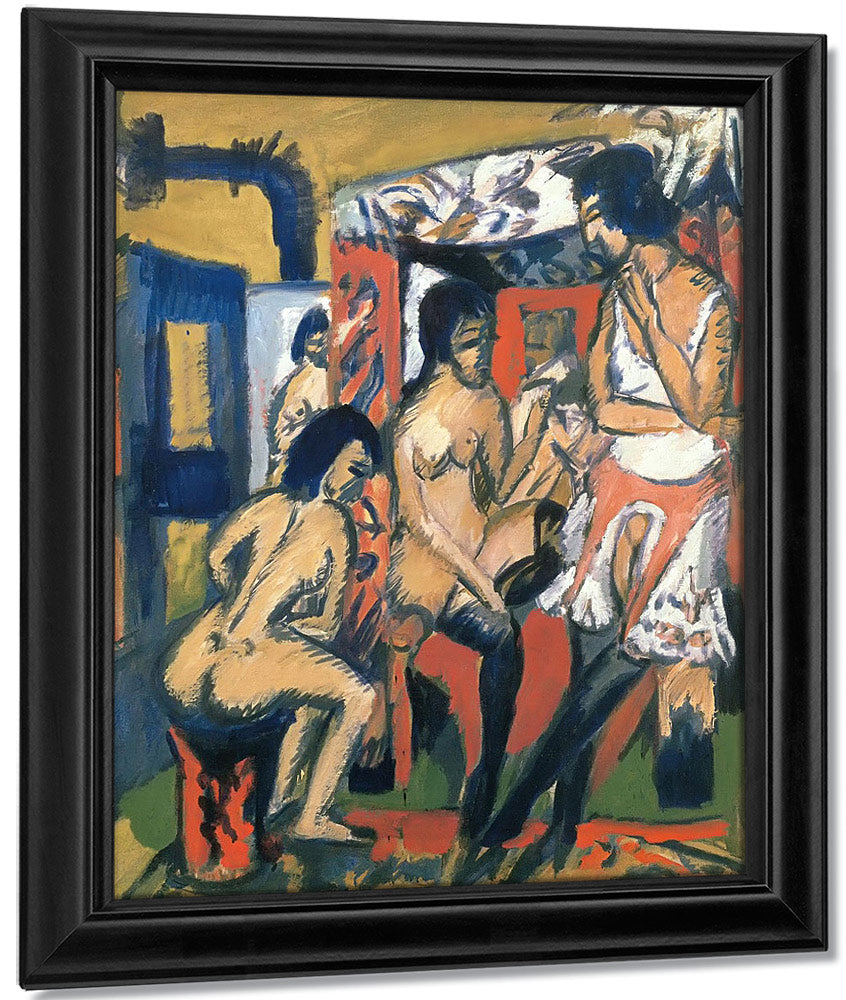 Nude In The Studio (Three Models) By Ernst Ludwig Kirchner