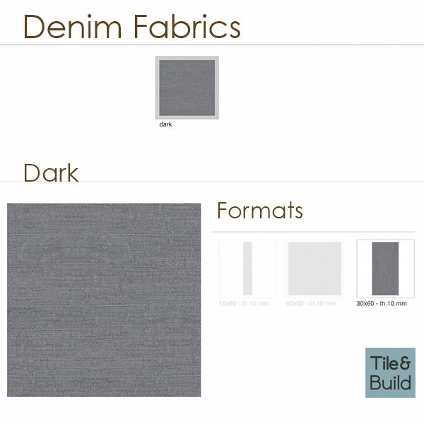 Denim Fabric Dark (30 x 60) Porcelain large format wall floor tile
