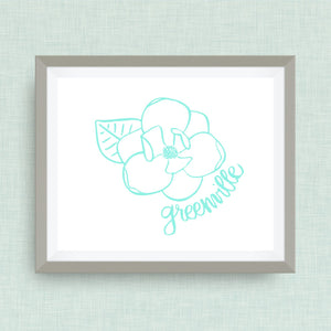 Greenville Magnolia Art Print - Greenville, NC hand drawn, hand lettered, Option of Real Gold Foil
