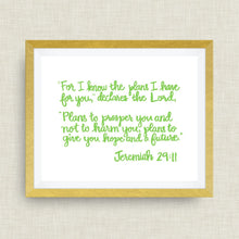 jeremiah 29:11 Bible Verse -  option of gold foil