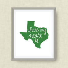 where my heart is texas art print in script - hand drawn, hand lettered, Option of Real Gold Foil