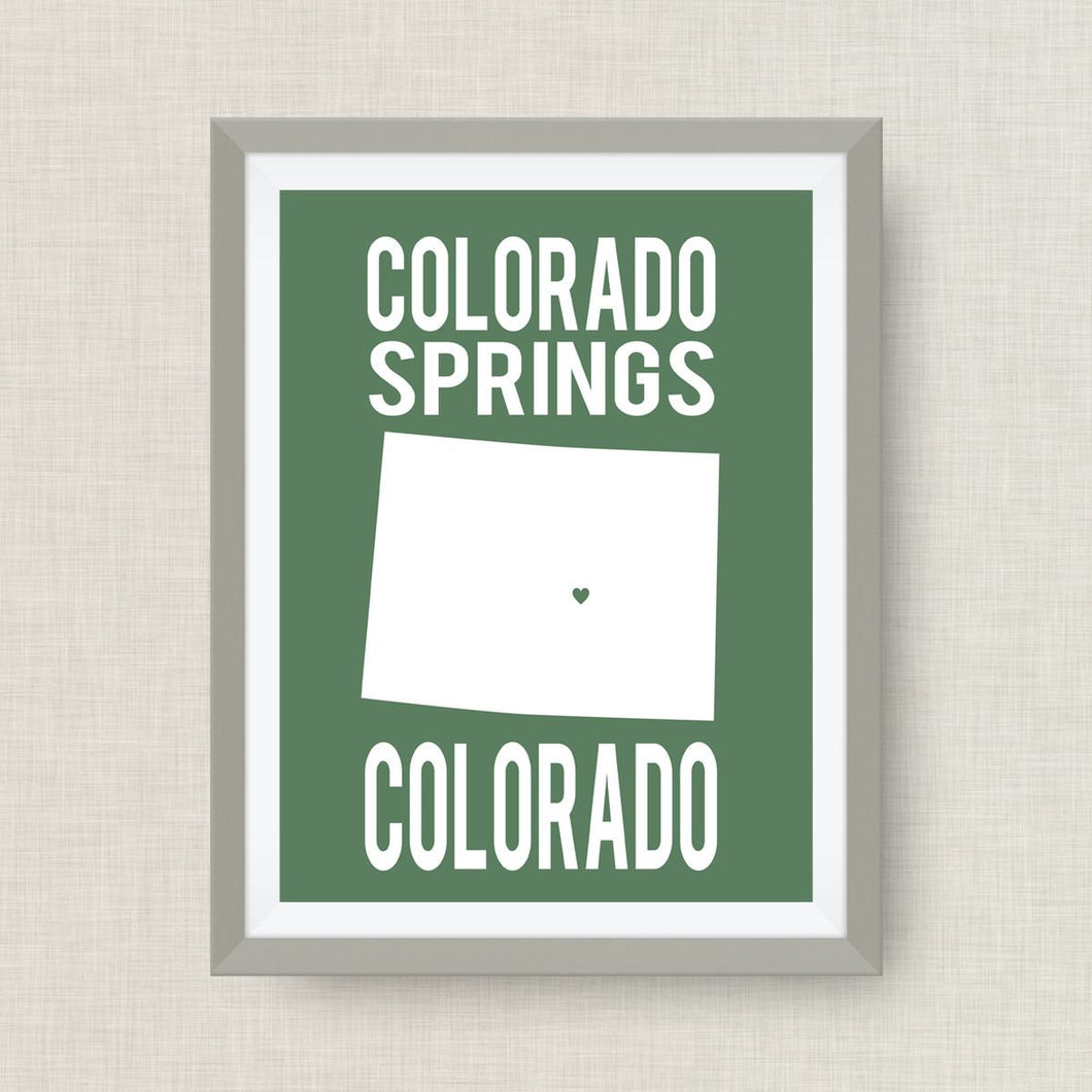 Colorado Springs Art Print, Colorado State art