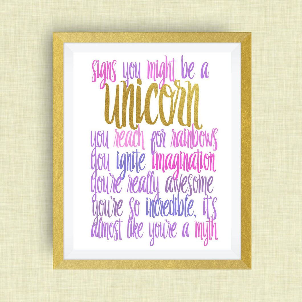 Unicorn Wall Art - Signs You Might be a Unicorn print, option of Gold Foil Print