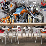 custom-wall-mural-wallcovering-Creative-Wallpaper-motorcycle-Street-Graffiti