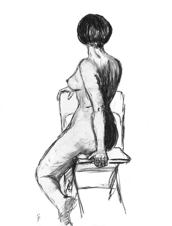 Woman Twisting in Chair - Print