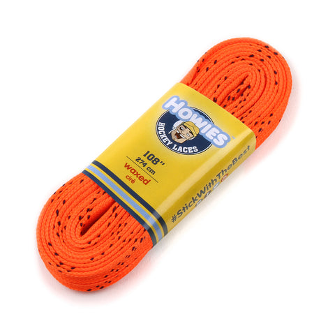"Howies Orange Waxed Hockey Skate Laces- Waxed Laces-1pk-72"" 84"" 96"" 108"" 120"" -Howies Hockey Tape"