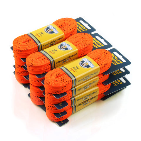 "Howies Orange Waxed Hockey Skate Laces- Waxed Laces-Bulk 12pk-72"" 84"" 96"" 108"" 120"" -Howies Hockey Tape"