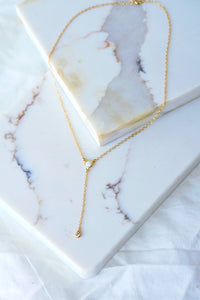 ZUNNI Opal Gold Filled Lariat Necklace