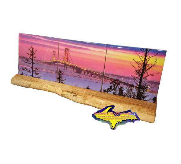 Michigan Made Drink Coasters A panoramic view of the Mackinac Bridge on three ceramic drink coasters