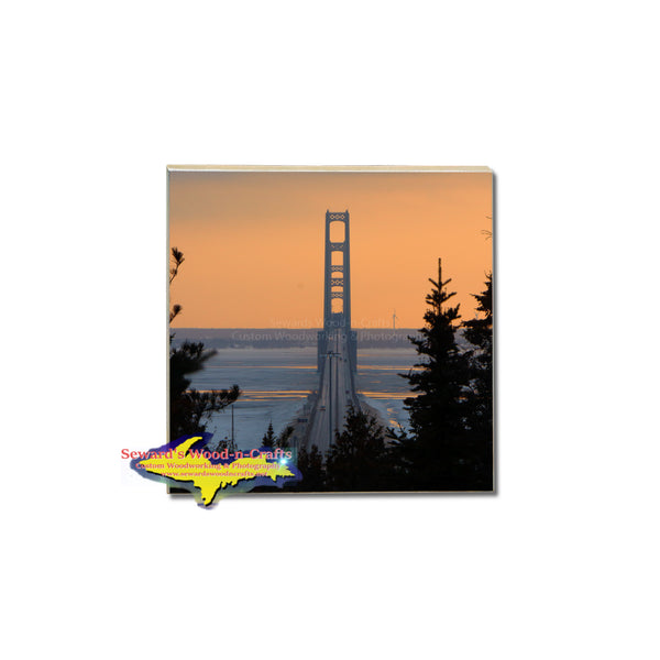 a stunning Tile coaster of the mackinac bridge