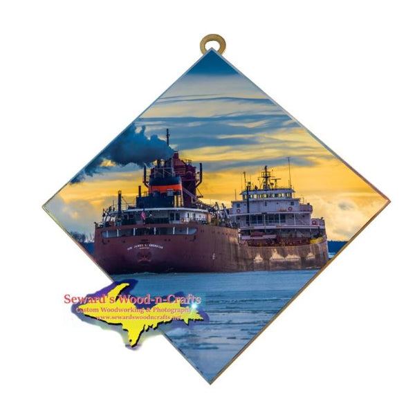 Great Lakes Freighter Gifts Hon. James Oberstar Wall Art Photo Tile For Boat Lovers