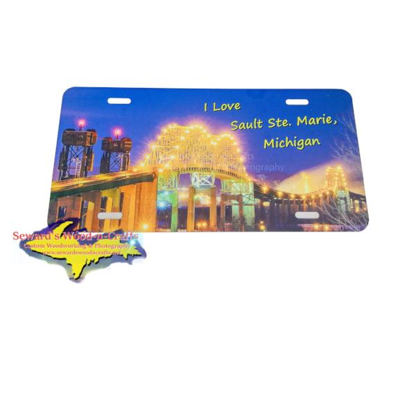 Sault Michigan International Bridge Photo license plate Great Gifts At Great Prices