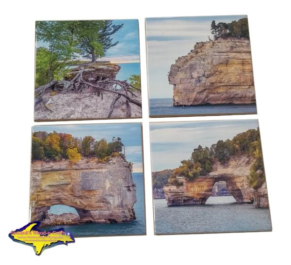 Michigan Made Drink Coasters Pictured Rocks Best unique gifts or collectibles