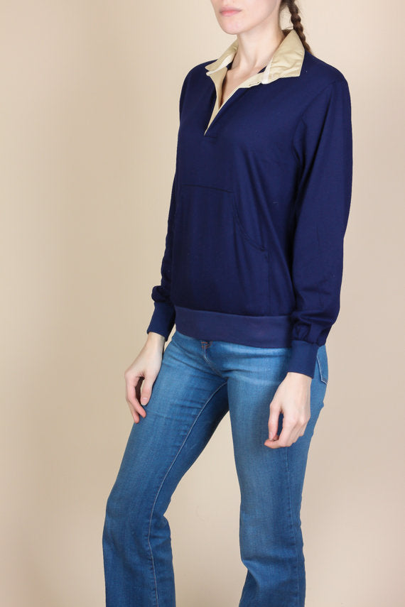 80s Long Sleeve Collared Top - Small
