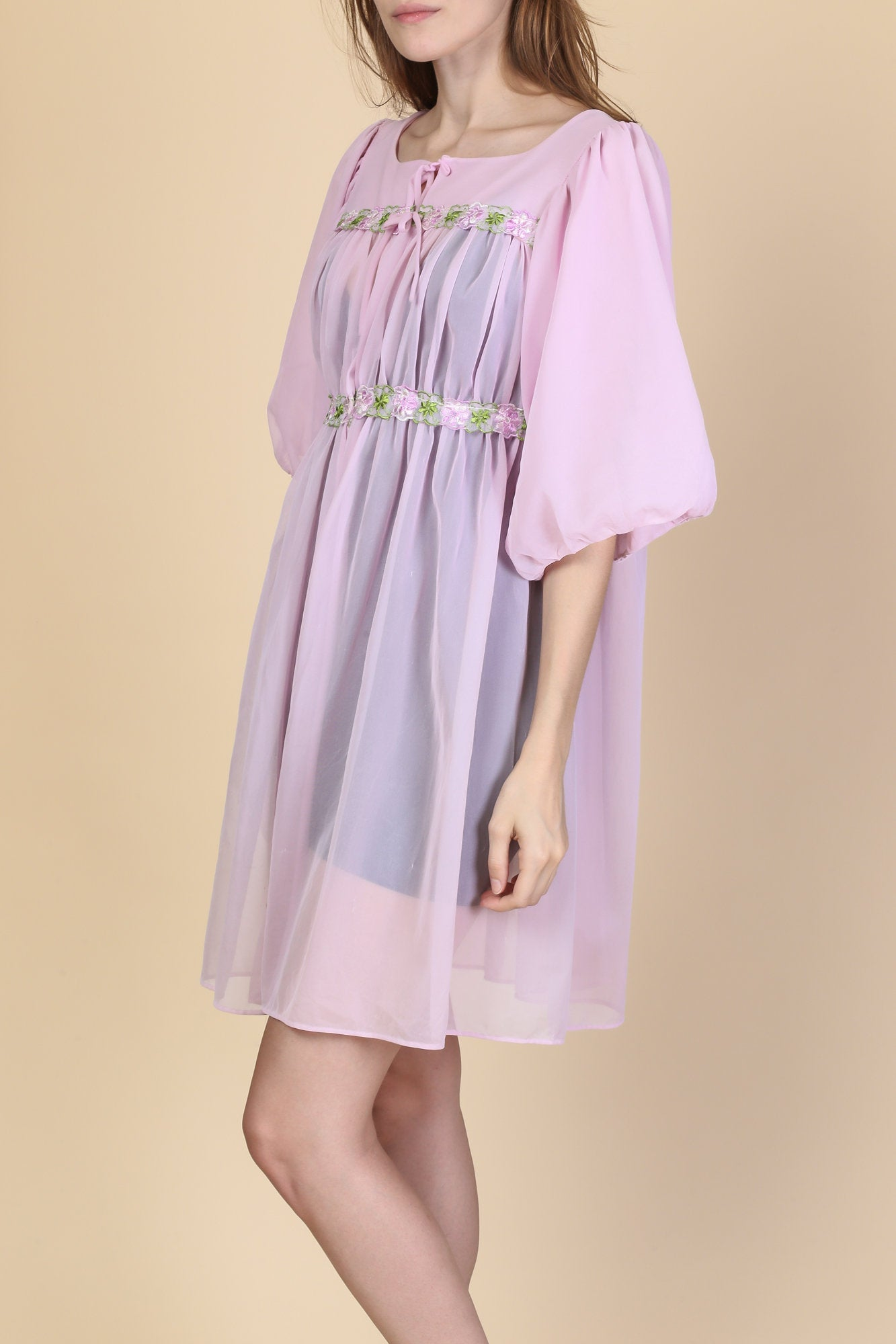 60s Sheer Lavender Peignoir Robe - Small