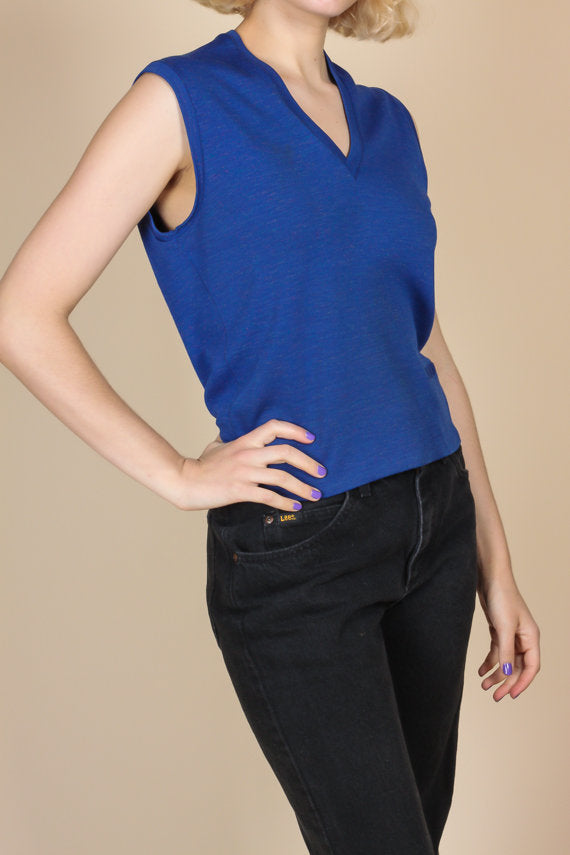 70s Blue Tank Top - Large
