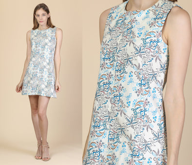 70s Mod White & Blue Floral Dress - Small