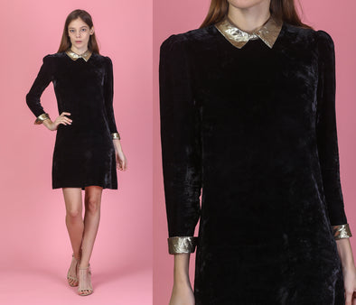 60s Black Velvet Gold Trim Mini Dress - Small