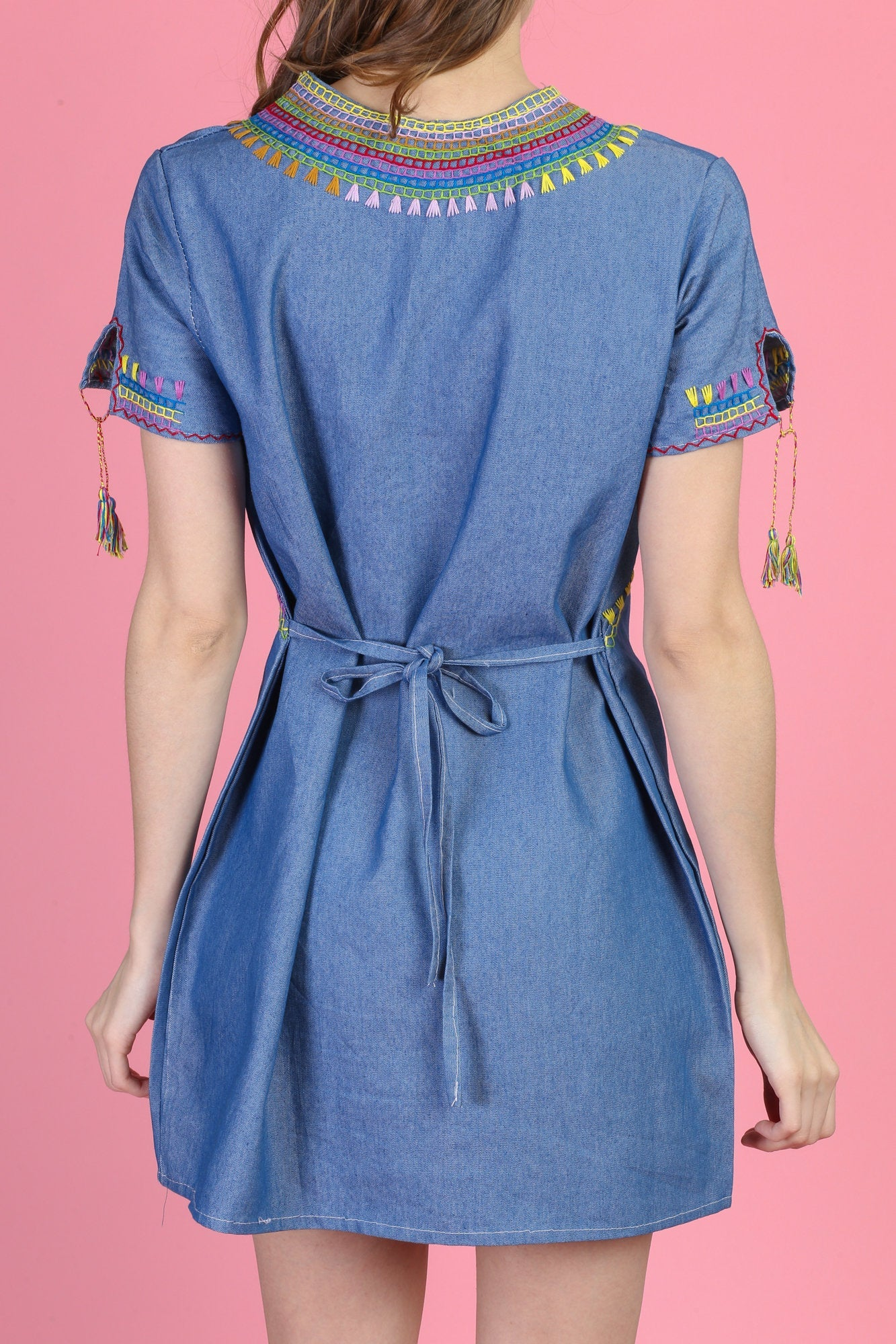 Vintage Embroidered Chambray Hippie Mini Dress - Medium