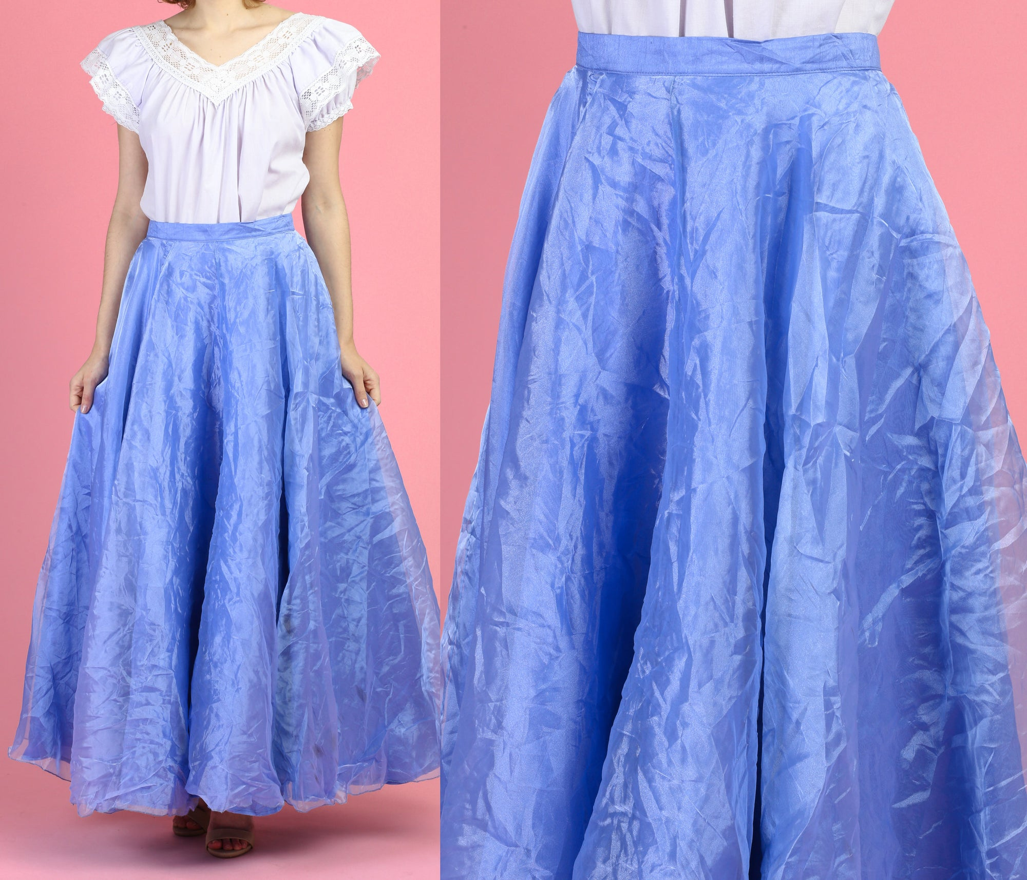 Vintage Pastel Blue Maxi Skirt - Medium