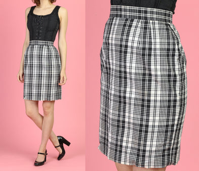 90s Plaid Mini Pencil Skirt - XS to Small