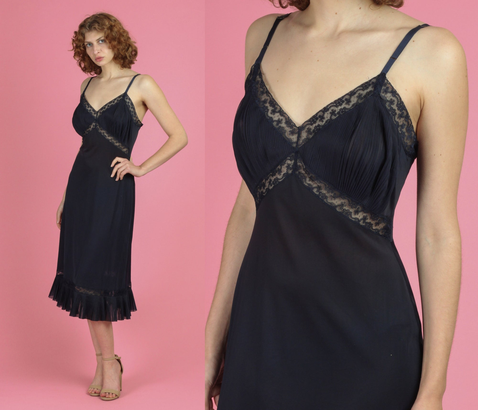 60s 70s Black Knife Pleat Slip Nightgown - Medium