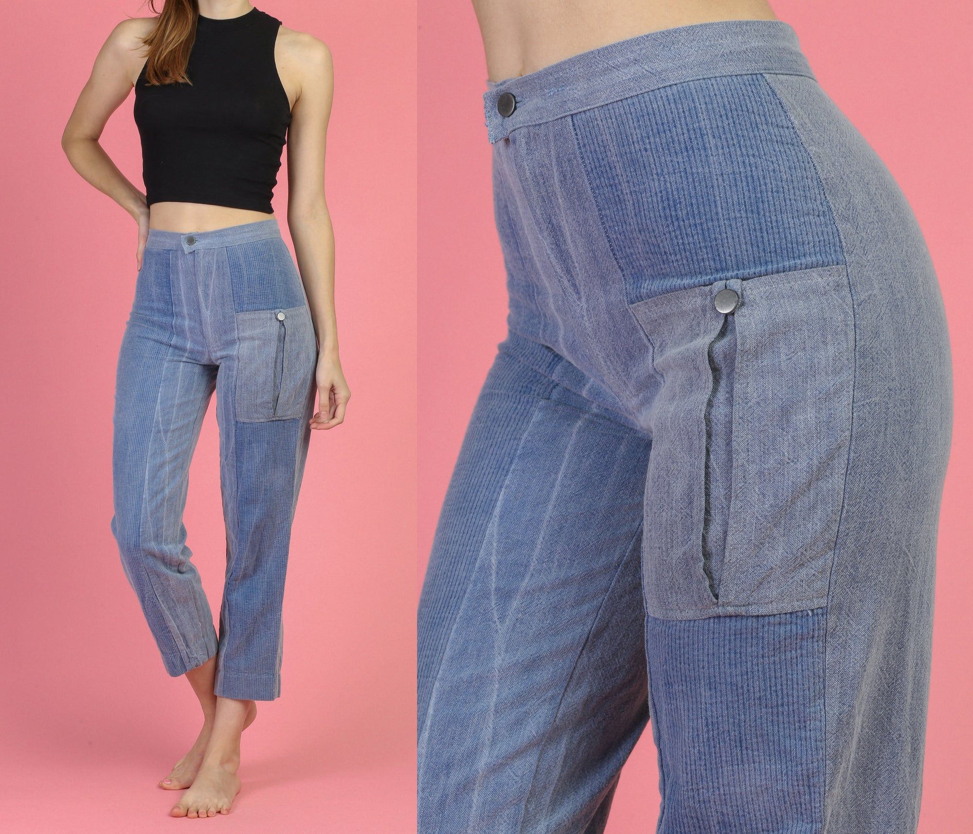 Vintage Ribbed High Waist Jeans - XS to Small