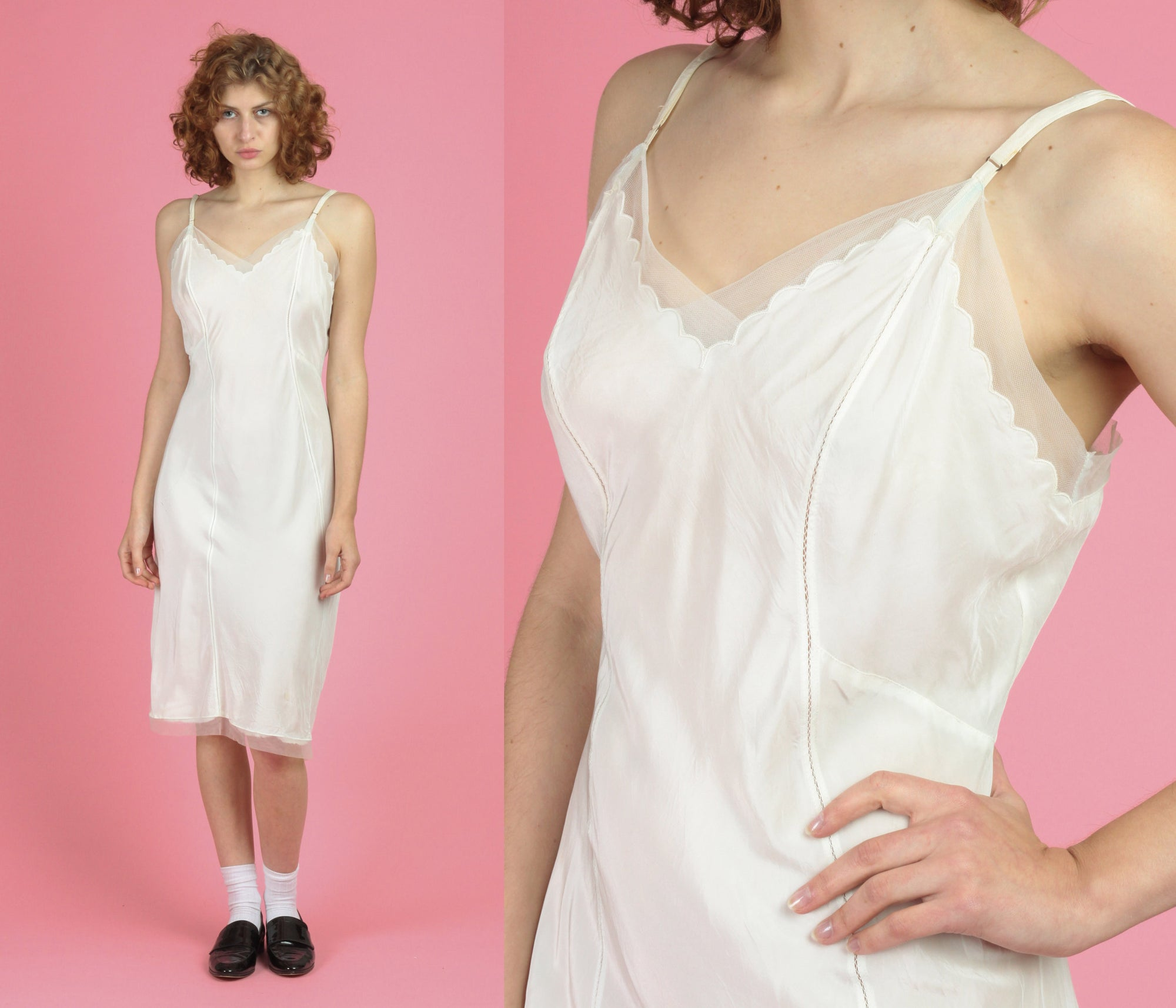 1950s White Slip Dress - Medium