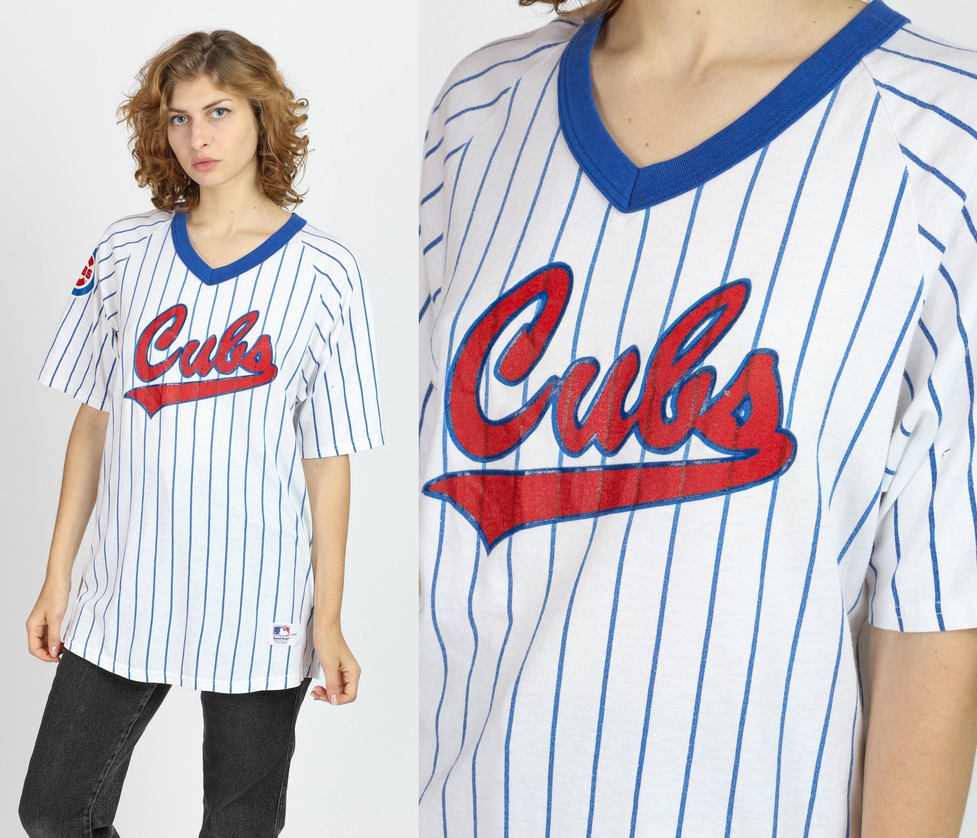 80s Chicago Cubs Sand-Knit Jersey - Men's Large