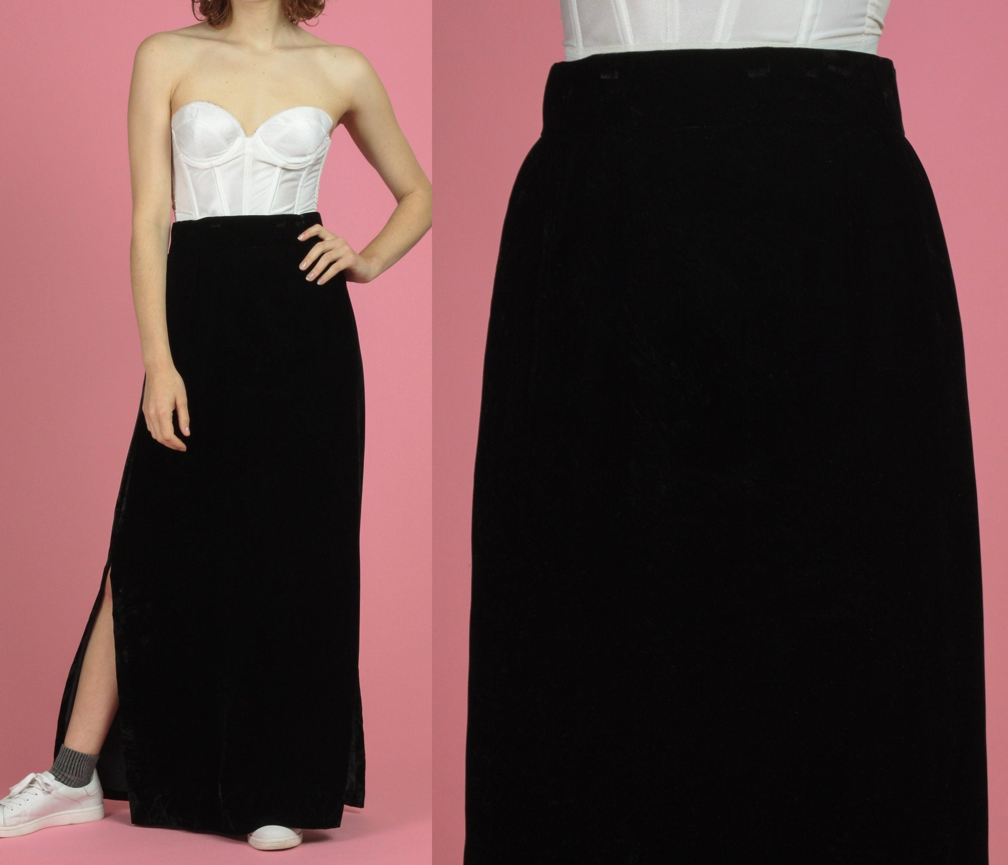 70s Black Velvet Maxi Skirt - Medium