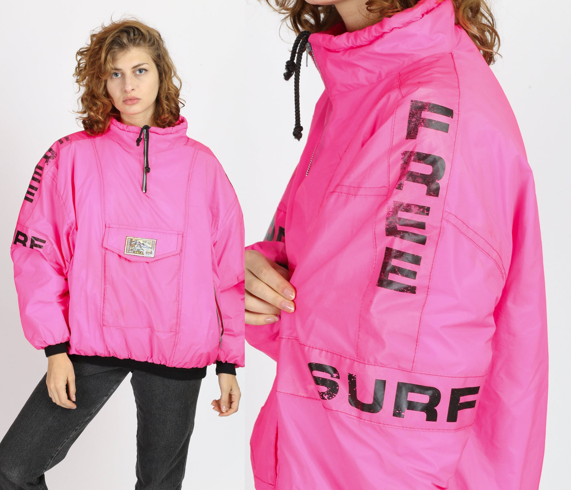 90s Neon Pink Free Surf Puffer Jacket - Extra Large
