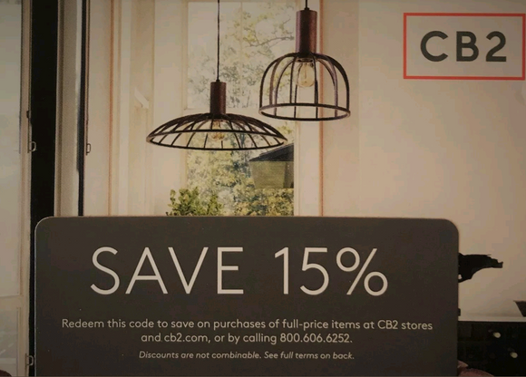 CB2—15% off Entire Purchase—Includes Furniture—Instant Delivery
