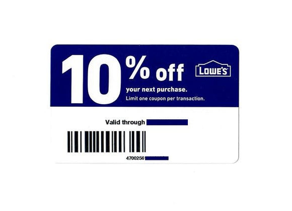 Lowe's 10% off Entire Purchase!