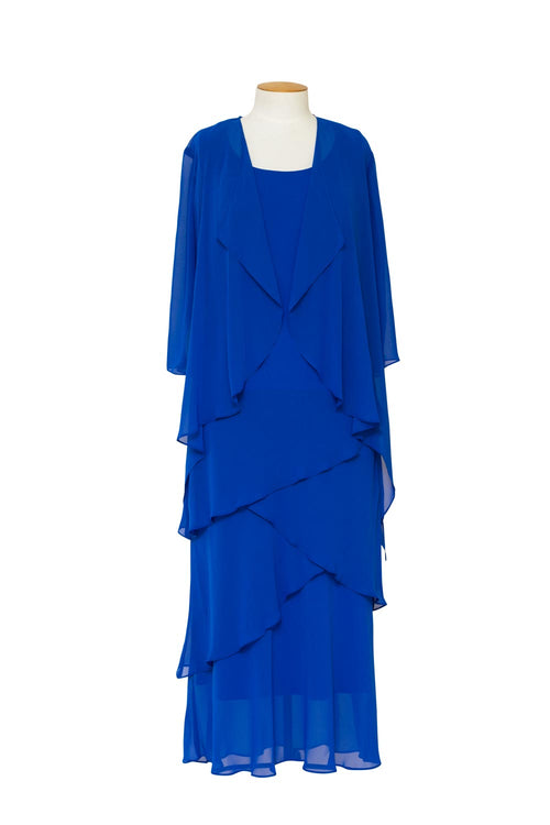 Layla Jones - LJ0148 Layered Chiffon Dress with 3/4 Sleeve Jacket