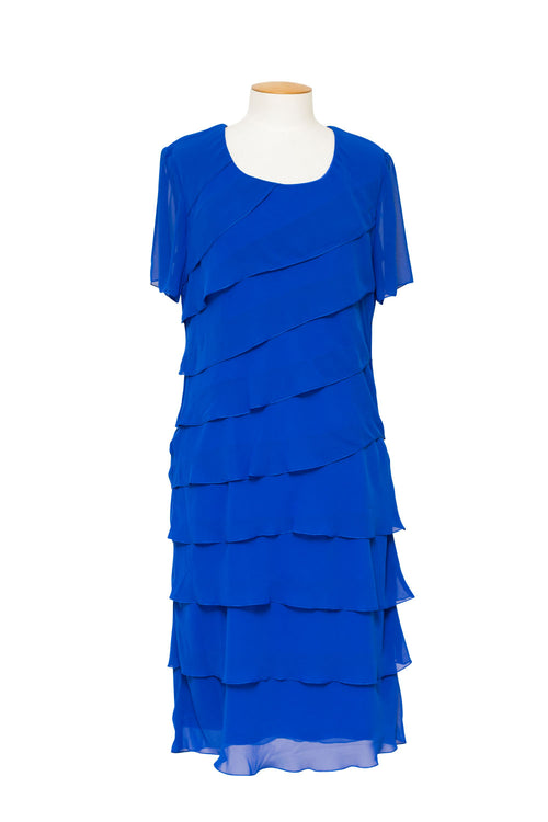 LJ0002 - Short Sleeve Chiffon Layer Dress