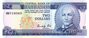 Barbados / P-36 / 2 Dollars / ND (1986)