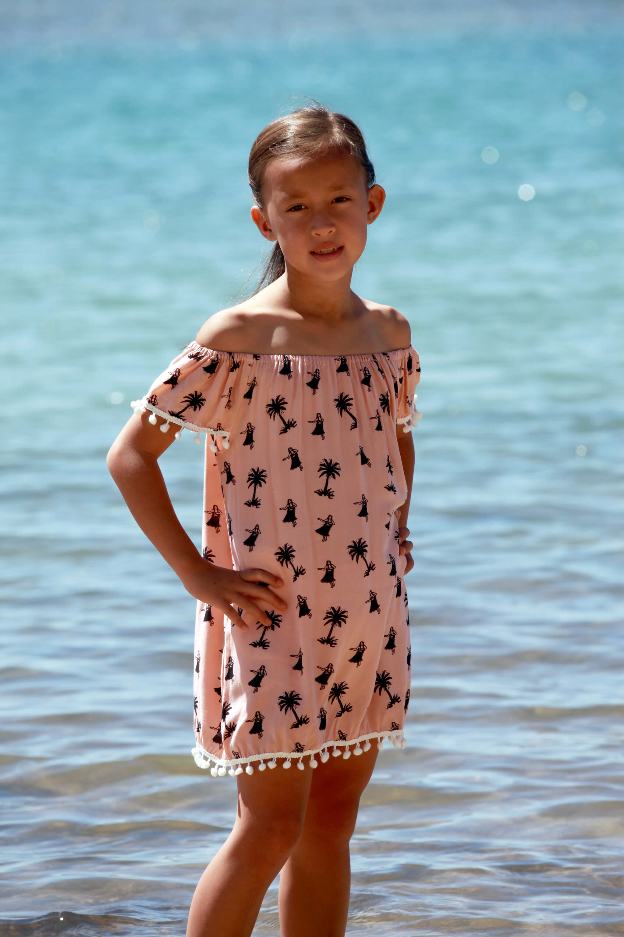 Little Lani Hula Palm Sabrina Dress
