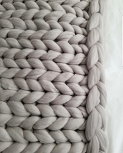 Chunky Knit Blanket - Pewter Grey