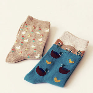 Meow Meow CastleAutumn winter cute cartoon series cotton socksAccessory - Meow Meow Castle