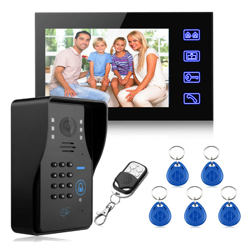 "NEW Safurance 7"" LCD RFID Video Door Bell Phone Doorbell Intercom System Touch Key IR Camera Home Security Building Automation"