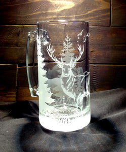 Standing Deer Mug, Etched Glass Nature Scene Beer Mug