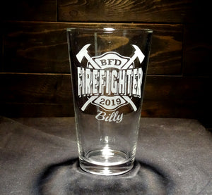 Custom Firefighter Etched Pint Glass