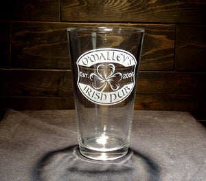 Custom Irish Pub Etched Pint Glass