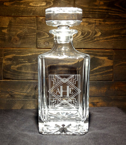 Art Deco Monogram Etched Crystal Decanter 750mL